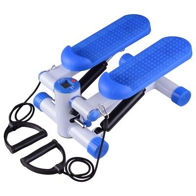 Air Stair Climber Step Exercise Fitness Machine w/ Bands Aerobic Equipment Blue
