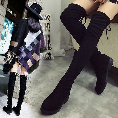 Women Ladies Over the Knee Thigh High Boots Low Heel Flat Lace Up Block Shoes