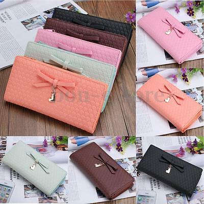 Women Bowknot Leather Clutch Long Purse Wallet Card Holder Handbag Bag Clutch US