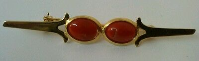 Natural Red coral brooch  2 cabuchons with gold plated silver
