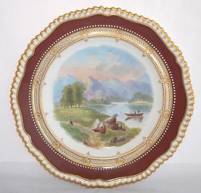 1885 Copeland Spode Hand Painted Rack/Cabinet Plate - Magnificent! 22.5cm