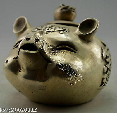 Collectible Decorated Old Handwork Silver Plate Copper Carved Lovely Pig Tea Pot