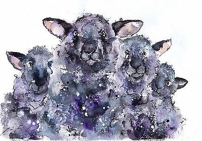 Lambs And Sheep Print  From Original Painting By Moonhares Art