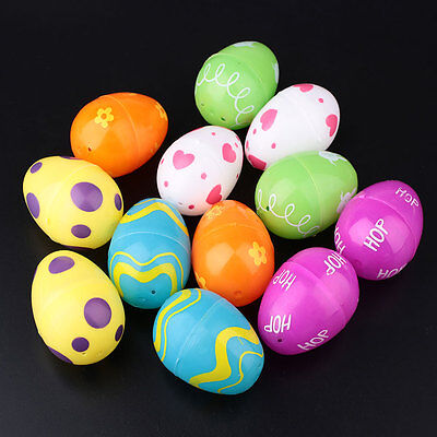 Colorful 12PCS ABS Painting Easter Eggs Wreaths Crafts Kids Ornaments Decor