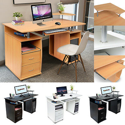 Student Study Table Home Office Computer Desk Compact Storage Drawers & Shelves