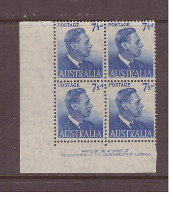 Australia 1951 King Georg VI SG251  block of 4 mint hinged stamps