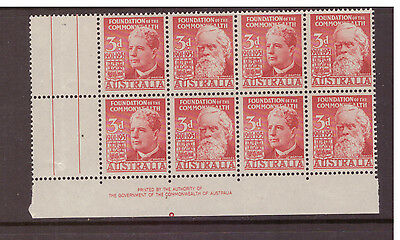 Australia 1951 Anniv of Federation SG241-242 block of 8 mint hinged stamps