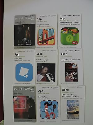 9 Starbucks Uk Pick Of The Week Download Cards. No Value. Collectors Item Lot 5