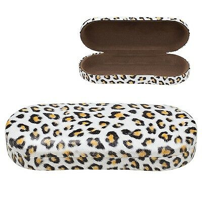 Sunglasses Clam Hard Shell Holder Eyeglass Case Glasses Protector, Leopard Brown