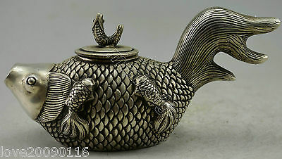 Collectible Decorated Old Handwork Silver Plate Copper Carved Fish Lucky Tea Pot