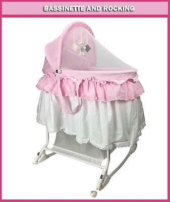 Br New Deluxe Baby Infant New Born Rocking Bassinet Cradle Bed Cot Crib Pink