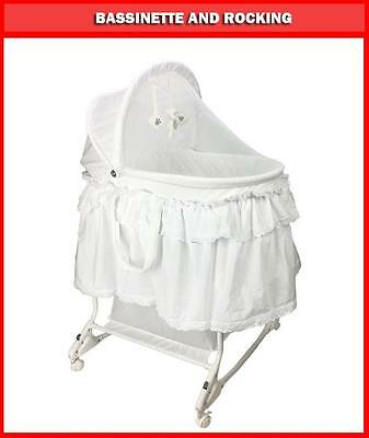 New Deluxe Baby Infant New Born Rocking Bassinet Cradle Bed Cot Crib White