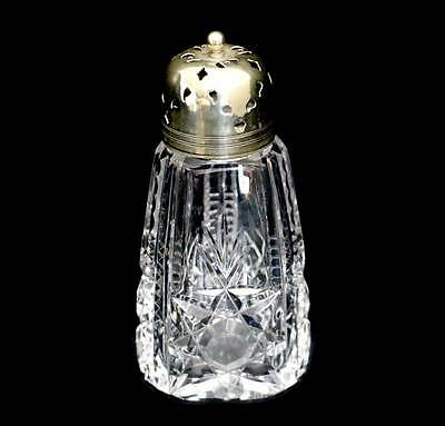 Vintage sparkly cut crystal large sugar shaker with EPNS silver plated top