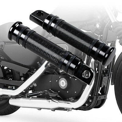 Black CNC Rear Front Foot Pegs 4 Harley Touring Sportster Softail Dyna Low Rider