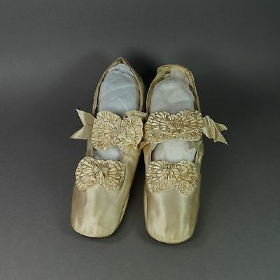 19th Century Shoes Cream Silk Satin French Made by Julien Mayer Paris Circa 1865