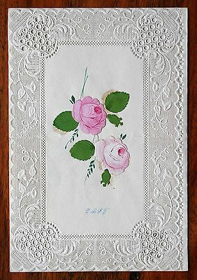Fine Victorian Lace Paper Valentine Greetings Card Rose Leaves Scraps  Fold Open