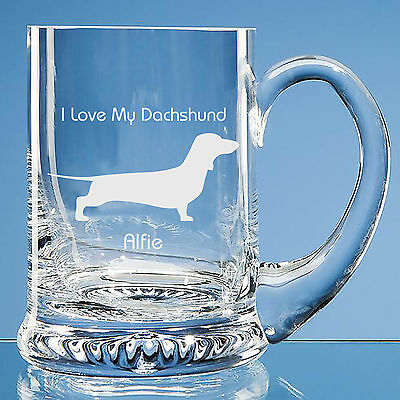 Dachshund Dog Lover Gift Personalised Engraved Fine Glass Tankard Dad Gift