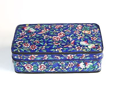 Vintage Chinese Canton Blue Enamel On Copper Lidded Box Floral Butterflies Motif