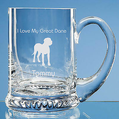 Great Dane Dog Lover Gift Personalised Engraved Fine Glass Tankard Dad Gift