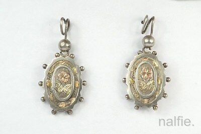 ANTIQUE ENGLISH VICTORIAN PERIOD SILVER & GOLD FLORAL EARRINGS c1882