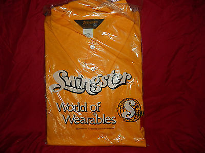 """Vtg Swingster World Of Wearables """"michelob"""" Yellow Xl Shirt- Nos"""
