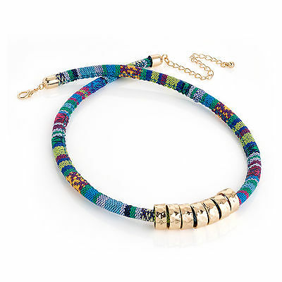 Ladies Girls Womens Tribal Aztec Print Gold Colour Bead Necklace Brand New
