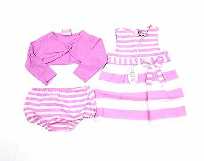 Chloe Louise Designer 3 Piece Outfit Dress Bolero Knickers Set 6 - 24 Months