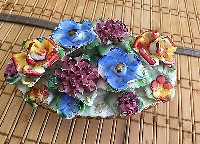 Capodimonte Handmade Vintage Centerpiece Flower Display 3x5 Made In Italy