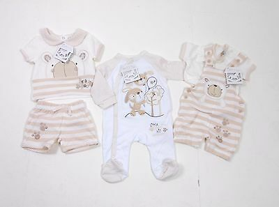 Rock-a-Bye Baby Cream Teddy Bunny Sleepsuit Shorts T-Shirt Dungarees 0-9 Months