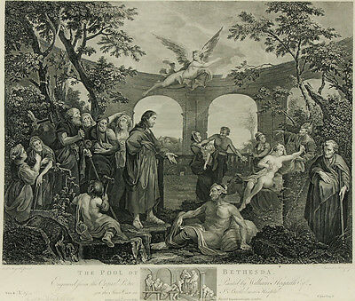 After William Hogarth - 19th Century Engraving, The Pool of Bethesda