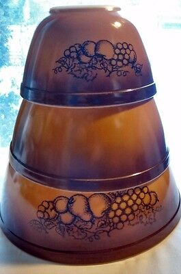 Vintage Pyrex Brown Nesting Mixing Bowls Old Orchard Fruits 3 Sizes Vintage