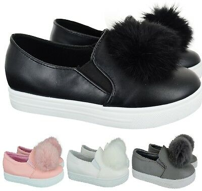 Kids Girls Children Pom Pom Fluffy Fur Trainers Sneakers Pumps Shoes Uk Size 8-2