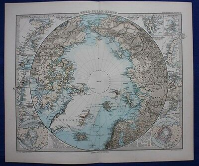 NORTH POLE, ARCTIC, NORTHERN HEMISPHERE, original antique map, Steiler,1881