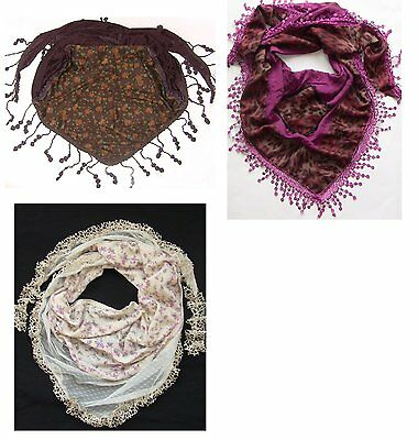 STUNNING LACE EDGE TRIANGLE SCARF WHOLESALE 50 pcs ONLY £1  each