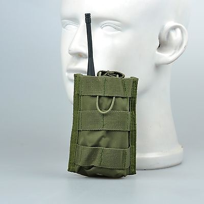 Army OD Green Molle Radio Pouch Walkie Talkie Interphone Intercom Pocket Case