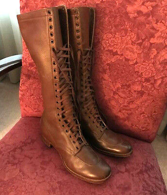 VINTAGE GENUINE LEATHER KNEE HIGH LACE UP WOMEN'S BOOTS - Size 6 (Narrow)