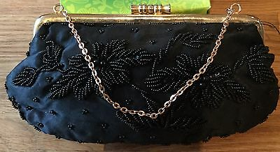 Vintage Beaded Evening Bag With Chain