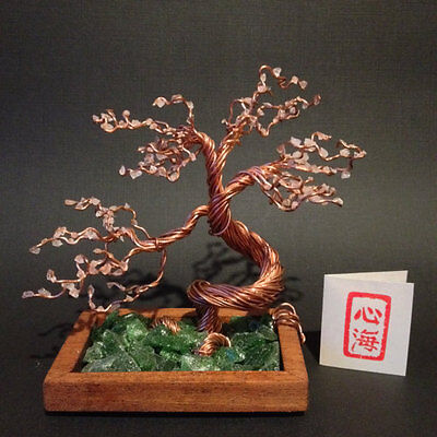 Copper Wire Bonsai Tree With Rose Quartz Blossoms and Cherry Wood Base