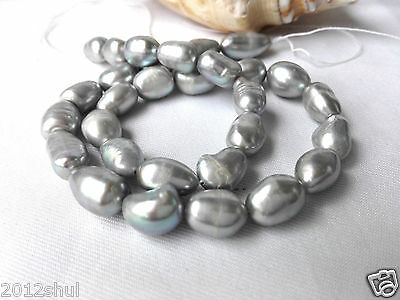 Gray baroque cultured Natural 9-10mm freshwater pearl loose bead
