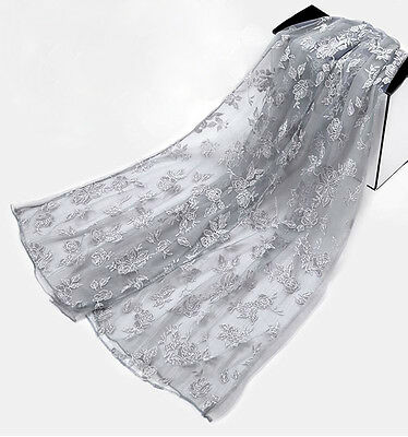 Long Soft Women Ladies Floral Lace Rose Flower Silk Wrap Shawl Scarf Stole Gray