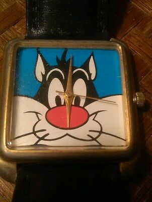 Sylvester Watch TM & Warner Brothers 1993 Japan Movement Cat Face Leather Strap