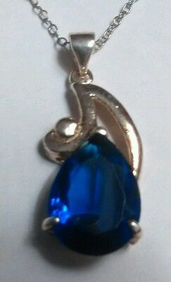 Vintage Sterling Silver Pendant Necklace 18 Inch Blue Rhinestone