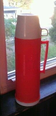 Vintage Orange Thermos with 3 Serving Cups