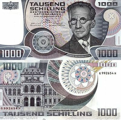VY RARE UNCIRCULATED LG MULTICOLOR 1983 AUSTRIA 1000 SHILLINGS w NOBEL PHYSICIST