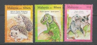 Malaysia 2013 Exotic pets fauna animals Iguana Hedgehog Sugar glider MNH**