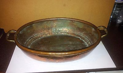 Vintage Oval Copper Planter with Brass Handles