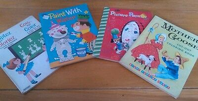 1950's 1960's Vintage Coloring Books Set of 4