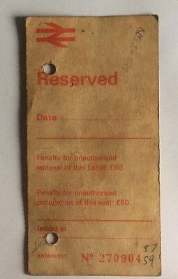British Rail RULE reserved Label ( BR3500/611) 1979