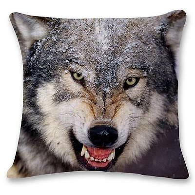 "Home Decor Nice Linen Cushion Cover Pillowcase Sofa 45cm/18"" Fierce Wolf #10 L"