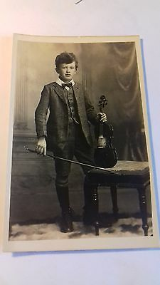 rp card,child violinist,musician,c1910,edwardian card